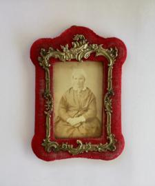 Antiek Frans rood velours fotolijstje carte de visite gemaakt door Janicot