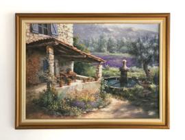 Ingelijste afbeelding lavendel veldje achter fontein