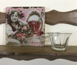 Antieke Franse jampot confiturepot facet conische vorm mond geblazen glas
