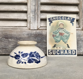 Digoin Sarreguemines antieke bowl kom blauwe roos Terre de Fer
