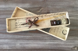 Glazen pennenset met sepiakleurige inkt in mooi doosje