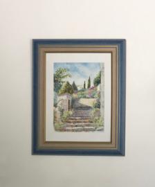 Ingelijst aquarel van J. Williet aquarelliste