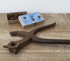 Antieke industriële Franse pons tang perforatie tang