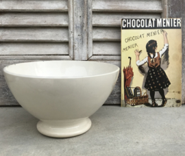 Digoin Sarreguemines grote bowl spoelkom gebroken wit 1920-1950