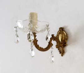 Frans bronzen lampje met glaskristallen en glazen druppelvanger