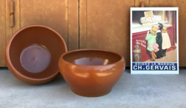 Digoin grès pot Franse bowl kastanje bruin