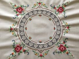 Handwerk tafelkleedje vierkant borduurwerk haakwerk
