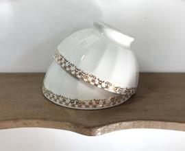 Mini bowl spoelkom kom wit met gouddecor