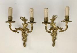Antieke vuurverguld bronzen dubbele wandlamp