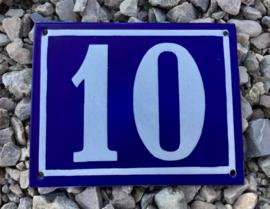 Franse geëmailleerde huisnummer plaat 10 blauw/wit