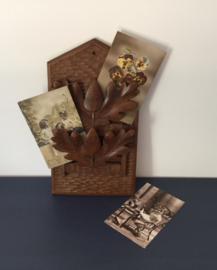 Antiek Frans houten postrekje brievenhouder kaartenhouder