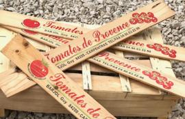Plankje van tomatenkistje Tomates de Provence reclame latje