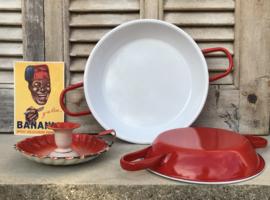 Set rood/wit geëmailleerde ovenschaaltjes eierpannetjes rond