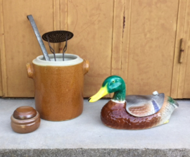 Franse grès pot olijven pot zonder deksel middenbruin