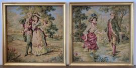 Twee Franse Gobelin schilderijtjes Rococo stijl 1e helft 20e eeuw