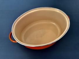 Le Creuset vintage oranje geëmailleerde ovale pan