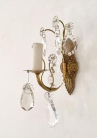 Antiek Frans wandlampje messing met glas werk