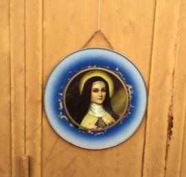 "Antiek Frans religieus ingelijst ""icoon"" Maria Madonna"
