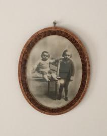 Lijst, ovaal en antiek met pastel portret kinderen Saintey, Marseille