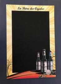 Frans reclamebord krijtbord La Bière des Cigales voor de mancave
