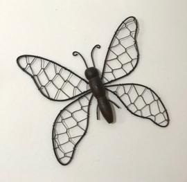 Franse wanddecoratie metalen vlinder draadwerk fil de fer