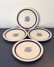 Vier dessertbordjes taart bordjes Digoin Cobalt