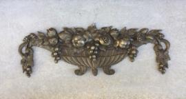 Antiek Frans metalen ornament van fruitschaal art nouveau