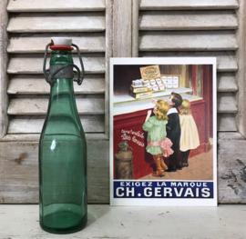 Frans groen beugeldop flesje met porseleinen dop