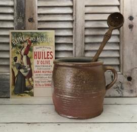 Antieke Franse olijvenlepel met afschroefbare steel