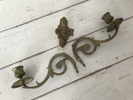 Antieke Franse bronzen vuur vergulde piano kandelaar