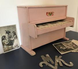 Vintage Franse poederroze kinderpiano (jaren '50)