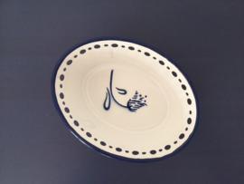 Wit emaille schaaltje / mandje met blauw tulp en blauwe randen