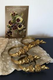 Franse 19e eeuwse gordijnringen messing/koper 4 stuks bloemen