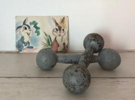 Franse antieke gietijzeren dumbells gewichten ijzerdomoren