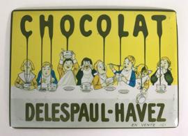 Franse reclamekaart carte metal Chocolat Delespaul-Havez