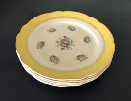 Digoin Sarreguemines Graziella plat bord diner bord geel met bloemetjes circa 1950