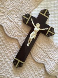 Antiek Frans (ebbenhouten) crucifix kruisbeeld