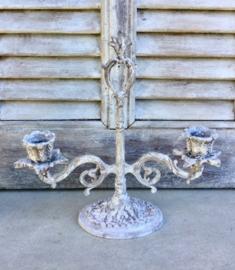 Franse vintage staande kandelaar voor twee kaarsen