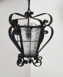 Frans vintage hallamp met gefigureerd glas