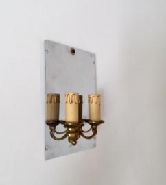 Franse antieke wandlamp met spiegel
