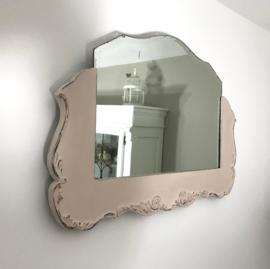 Brocante houten spiegel commode spiegel kaptafel spiegel