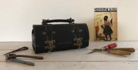Vintage zwart lederen gereedschapstasje motorfietstasje