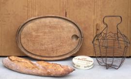 Robuuste Franse ovale vleesplank vintage brocante