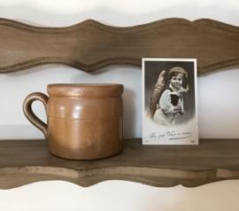 Kleine Franse grès pot van Bonny met oor grès aardewerk