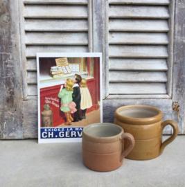 Antieke Franse grès pot set steengoed bruin/mosterd kleur