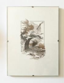 Franse pentekening aquarel van Laboureau in wissellijst