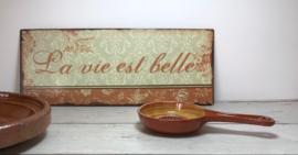 Frans terracotta knoflook rasp schaaltje met steel/greep