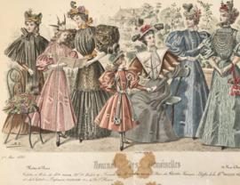 Lithographie mode kleur Journal des Demoiselles modes de Paris A