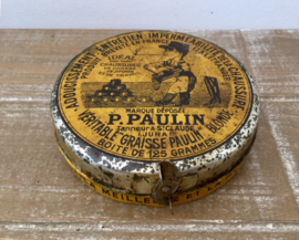 Antiek Frans blikje van leervet P. Paulin
