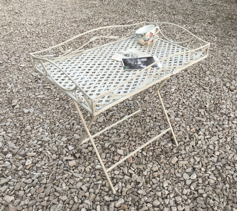 Frans wit metalen opklap tafeltje, dienblad op onderstel, butler tray